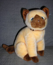 Ty buddies  plush yellow brown kitty cat SIAM   with collar     sits 10 inches