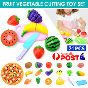 24Pcs Kids Pretend Role Play Kitchen Fruit Vegetable Food Toy Cutting Set Gifts