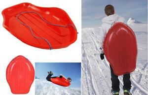 Xmas Heavy Duty Plastic Kid's Snow Sledges Toboggan Sleigh Pull Rope SKI Board