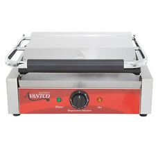"Avantco P70S Smooth Commercial Panini Sandwich Grill - 13"" x 8 3/4"" Cooking Surf"