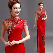 2017 Retro Women's Chinese Long Satin Qipao Cheongsam Wedding Evening dress Red