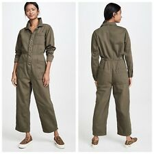 Free People GIA Army Green Denim Long Sleeve Button Front Jumpsuit Womens M New