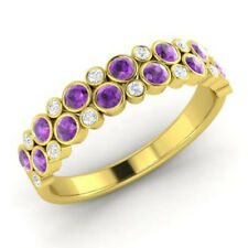 0.91 Ct Natural Diamond Amethyst Eternity Band 14K Yellow Gold Ring Size 5 6 7 8