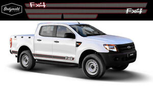 Ford RANGER FX4 Sill Stripes/ Faux Carbon Fibre style with coloured hi lites