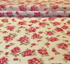 ROSE & HUBBLE IVORY FLORAL ROSES FABRIC 100% COTTON 112cm WIDE PER METRE