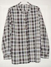 Damen Bluse Langarm C&A LANDHAUS Gr. 48 braun/weiß/grün kariert