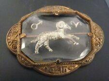 Signe du Zodiaque BÉLIER Broche en métal doré bijou ancien vers 1940