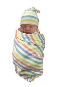 Wonder Nation 2 Piece Newborn Unisex Multi Color Stripes Wrap Swaddle Hat Set