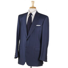 NWT $6500 BRIONI Petrol Blue Herringbone Super 150s Wool Suit 42 L Two-Button