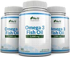 Omega 3 1000mg Fish Oil 3 Bottles Omega 3 6 9 DHA + EPA 100% MONEY BACK by Nu U