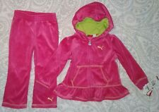 Puma Baby Pink 2 piece Hooded Peplum Jacket & Pants Set Outfit Size 24 Months