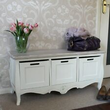 Crema dipinto vintage 3 drawer magazzinaggio panca shabby chic mobili casa