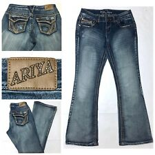ARIYA JEANS Juniors Women's Embroidered Bootcut Stretch Flap Pocket Denim Sz 5/6