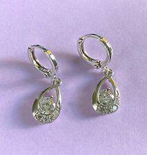 White Gold Huggie Hoop & Drop Dangle Earrings with Sim Diamonds Plum UK BOXED