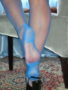 Silky Sheer Blue Nylon FF Stockings Seamed Flat Knit Hosiery Nylons RHT Lingerie