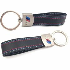 Car BMW M-Colored Sport Power ///M Performance Logo Black Leather Keychain Ring