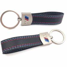 Car BMW M-Colored Sport Power ///M Performance Logo Black Leather Keychain Ring