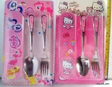 LTB: KIDS SPOON & FORK SET W/ TIN CONTAINER - Hello Kitty