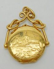 Very Rare Antique Gold Plated Ship Fob  Locket Pocket Watch Chain Pendant