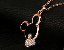 ROSE GOLD PLATED CRYSTAL MICKEY MOUSE NECKLACE