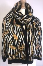 ZEBRA PRINT SCARF PASHMINA CHAIN PRINT BLACK OVERSIZED BRUSHED COSY SOFT NEW