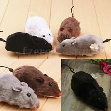 Wind Up Running Mouse Rat Moves on Wheels Cat Kitten Play Toy Joke Prank Funny