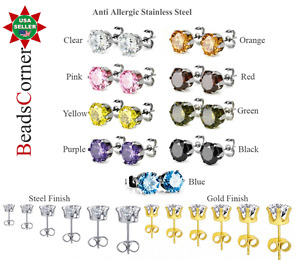 Surgical 316L Stainless Steel Stud Earrings Cubic Zircon Men Women 2PC