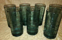 7 Vtg Anchor Hocking Tartan Emerald Green Drinking Tea Glasses