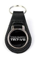 Triumph TR7 V8 Logo Quality Black Leather Keyring