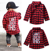Newborn Toddler Baby Long Sleeve Plaid Shirt Blouse T-shirt Tops Clothes Outfit