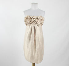 ALEXIA ADMOR ivory rayon strapless above knee shimmery ruffled bodice dress S