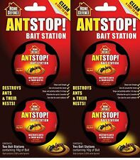 4 Pack Home Defence Ant Stop Bait Station Pre-Baited Kills Ants & Nests Free Pos