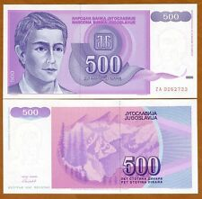 Yugoslavia, 500 Dinara, 1992, Pick 113, ZA UNC > Replacement