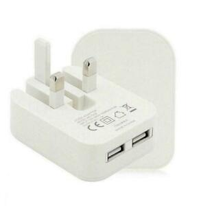 Plug Dual USB Port 2A 2 AMP 3-Pin Fast Charging Folding Wall Charger Adapter UK