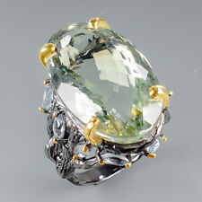 Handmade33ct+ Natural Green Amethyst 925 Sterling Silver Ring Size 9/R114537