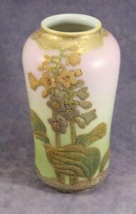 "6⅝"" Perfume Nippon Corolene Vase - 1908 - Raise Foxglove Flowers Pink"