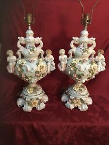 Large Capodimonte Lamp Porcelain Cherubs Flowers RESERVED for nite1320