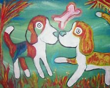 Beagle in the Marsh 8 x 10 Folk Art Print Dog Collectible Signed by Artist KSams