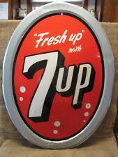 "HUGE Vintage 1963 Stout 7up Dome Shaped Sign 40"" x 30"" > Antique 7 UP RARE! 9349"