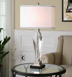 """DESIGNER MODERN 29"""" THICK CUT CRYSTAL TABLE LAMP NICKEL PLATED ACCENTS"""