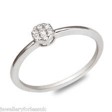14Carat White Gold Diamond Daisy Cluster Sleek & Slim Ring 0.10carats GSI