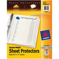 Avery Standard Weight Top Load Sheet Protectors, 8 1/2 x 11 Sheets, Clr, 10-Pack