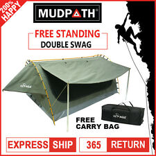 OzEagle Double Swag Canvas Free Standing 4x4 Fishing Camping Dome Tent Celadon