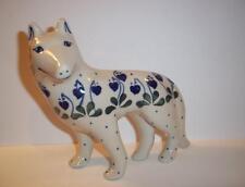 Polish Pottery Standing Wolf Puppy Dog Figurine Handmade Boleslawiec Stoneware