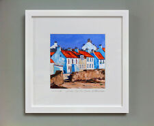 FRASER MILNE 'HOUSES BY THE SHORE, PITTENWEEM' FRAMED SIGNED PRINT