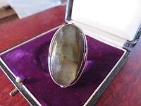Schmaler 925 Silber Ring Groß Stein Labradorit Verzierung Schillernd Dominierend