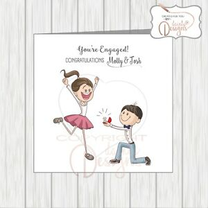Personalised Congratulations On Your Engagement Card, Cute Couple / Son Daughter