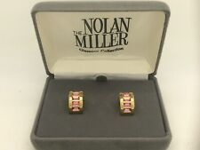 """Nolan Miller Glamour Collection Pierced Half Hoop Pink Stone Earring 3/4"""""""