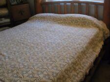Vintage Ecru Popcorn Pinwheel Crochet King Queen Full Cotton Bedspread 80x102