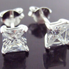EARRINGS GENUINE REAL 925 SOLID STERLING SILVER DIAMOND SIMULATED STUD DESIGN